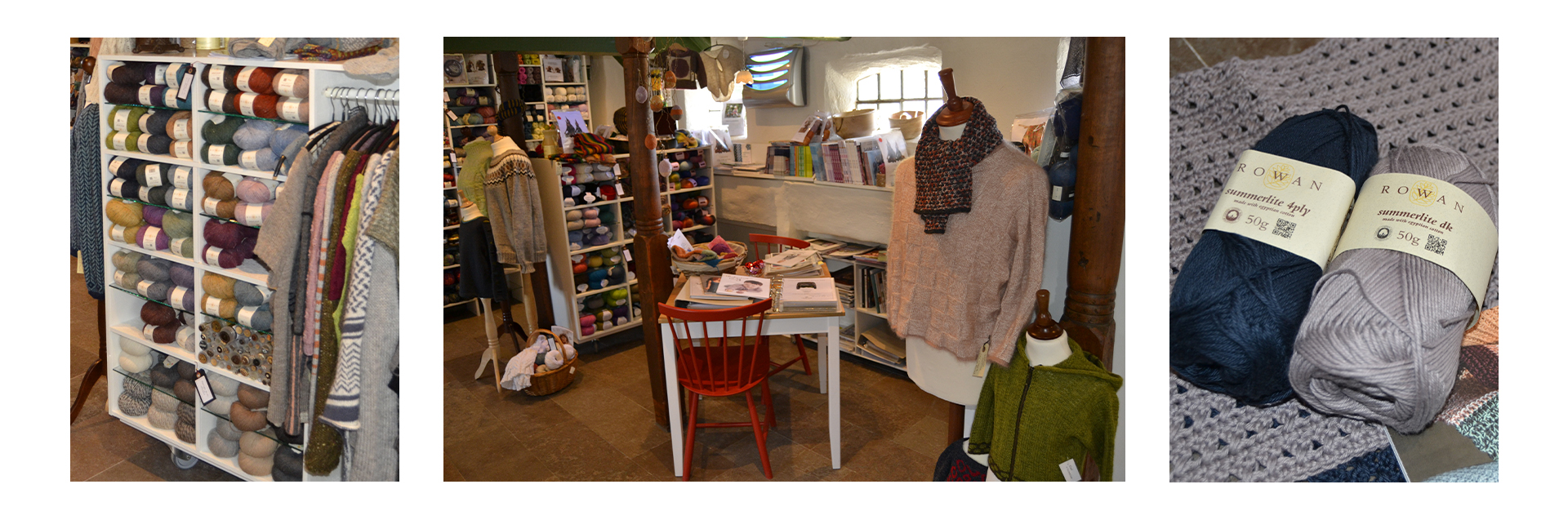 Ho Strik is a small yarn store in the countryside, with a cosy atmosphere where you can buy high quality yarns. The old thatched farmhouse is a provides a perfectly calm setting for you to choose your next knitting project.